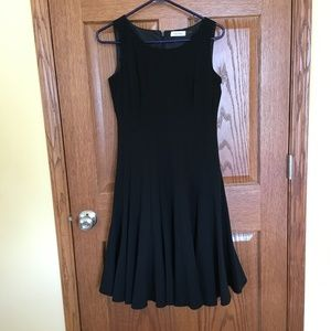 Calvin Klein Black Fit and Flare Pleated Dress 6